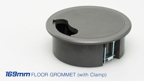 169mm Plastic Access Floor Grommet c/w Clamp (Grey)