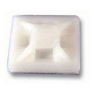 4 Way Self Adhesive White Cable Tie Base 28x28mm