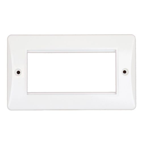 4 Gang Euro Modular Faceplate White Slimline by Meteor Electrical