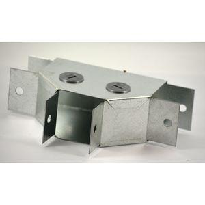 100x50mm Galvanised Trunking 90° Flat Tee - Gusset Type