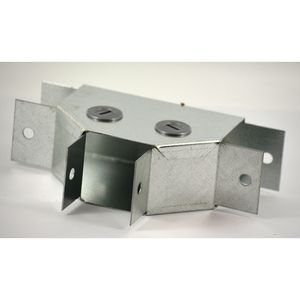 100x100mm Galvanised Trunking 90° Flat Tee - Gusset Type