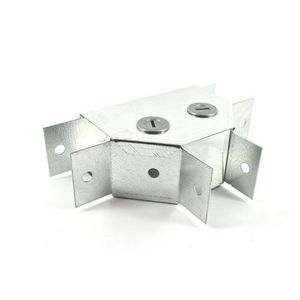 50x50mm Galvanised Trunking 90° Flat Tee - Gusset Type