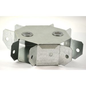 100x50mm Galvanised Trunking 90° Four Way Intersection - Gusset