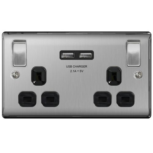 Brushed Chrome 2 Gang USB Socket, Outboard Rockers
