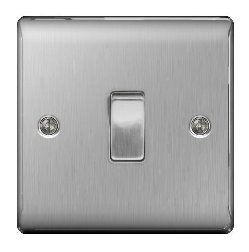BG Nexus 1 Gang 2 Way Brushed Steel Metal Light Switch