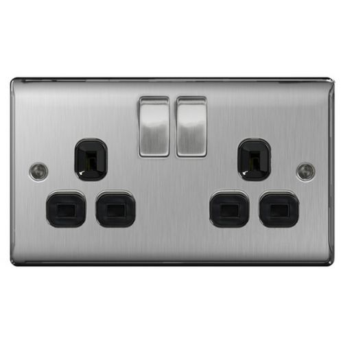 BG Nexus 2 Gang, Brushed Steel Double Socket