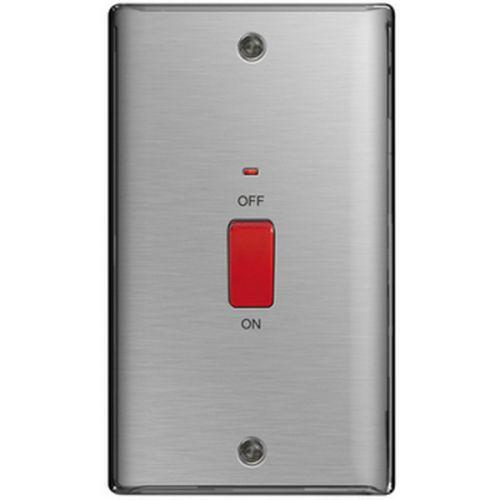 BG Nexus 45 Amp Double Pole Cooker Switch, Neon Brushed Steel