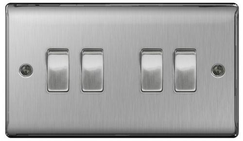 BG Nexus 4 Gang 2 Way Light Switch Brushed Steel