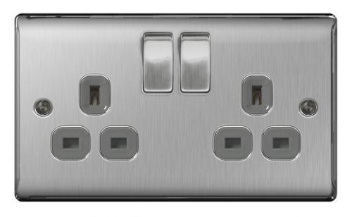 2 Gang BG Nexus Brushed Stainless Steel Double Socket