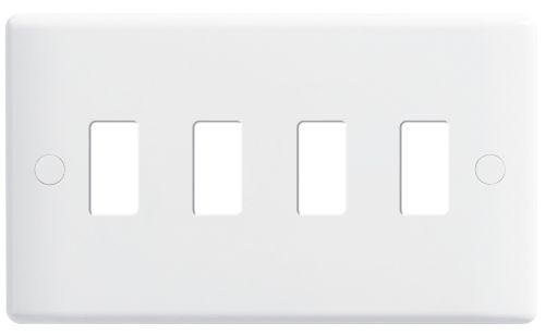 Nexus Metal Nexus Grid Front Plate, 4 gang, White