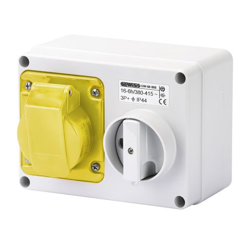 Gewiss 16A Switched Interlocked Socket, 2P+E, 110V, IP44