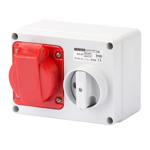 Gewiss 16A Switched Interlocked Socket, 3P+N+E, 400V, IP44, Red