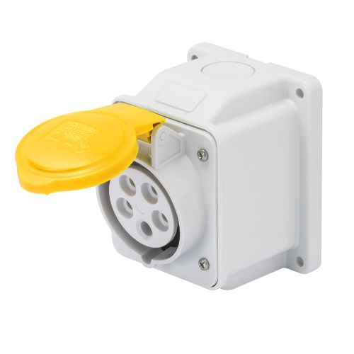 Gewiss 16A Surface Socket, 2P+E, 110V, IP44, Yellow