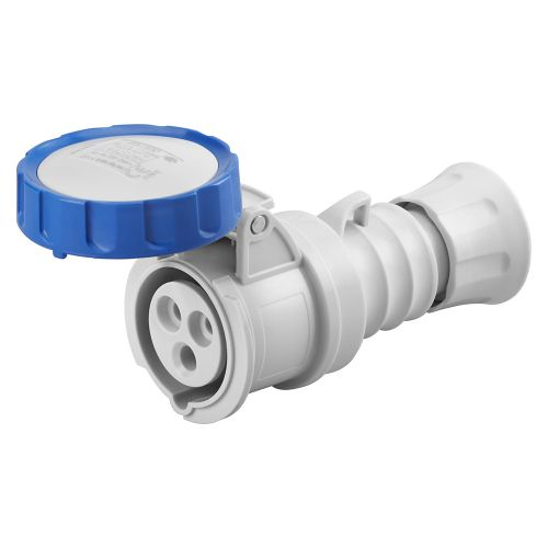 Gewiss 32A Straight Connector, 2P+E, 230V, IP67, Blue