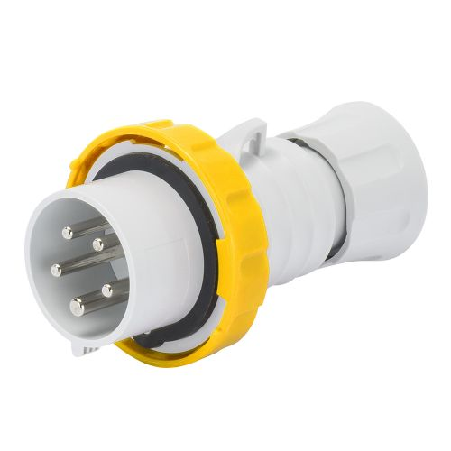 Gewiss 32A Straight Plug, 2P+E, 110V, IP67, Yellow by Meteor Electrical
