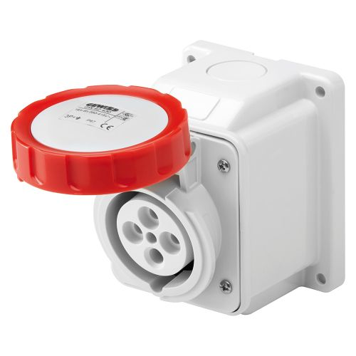Gewiss 32A Surface Socket, 3P+E, 400V, IP67, Red