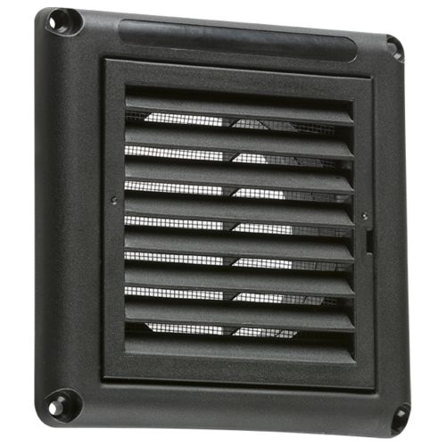 Knightsbridge 100MM Extractor Fan Grille with Fly Screen, Black by Meteor Electrical