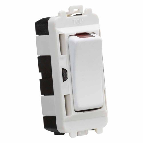 Knightsbridge 20AX DP module with LED indicator - matt white by Meteor Electrical