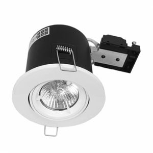 Fire Rated Twist and Lock GU10 Tilt White Downlight