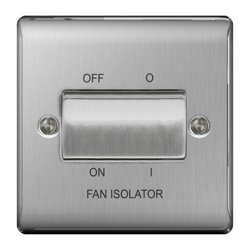 Nexus Metal Brushed Steel 10AX Plate Switch 3 Pole Fan Isolator
