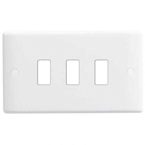Nexus Metal Nexus Grid Front Plate, 3 gang, White