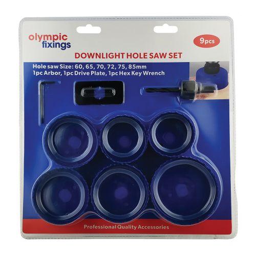 8 Piece Downlight Kit, Holesaws & Arbor