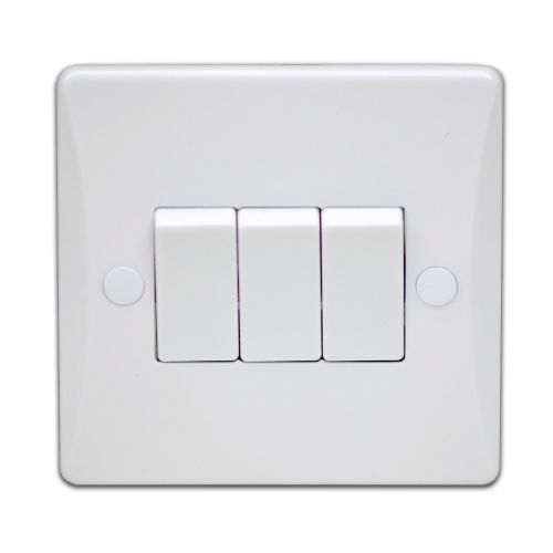 Pearl 10 Amp 3 Gang 2 Way Plate Switch