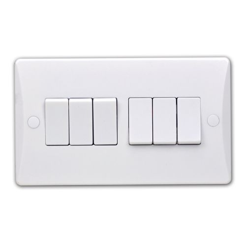 Pearl 10 Amp 6 Gang 2 Way Plate Switch