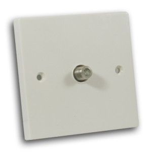 Single Satellite TV Socket Off White