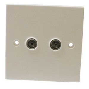 Twin Co-Axial Socket Non Isolated Off White