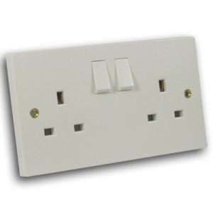 13 Amp 2 Gang DP Switched Socket Off White