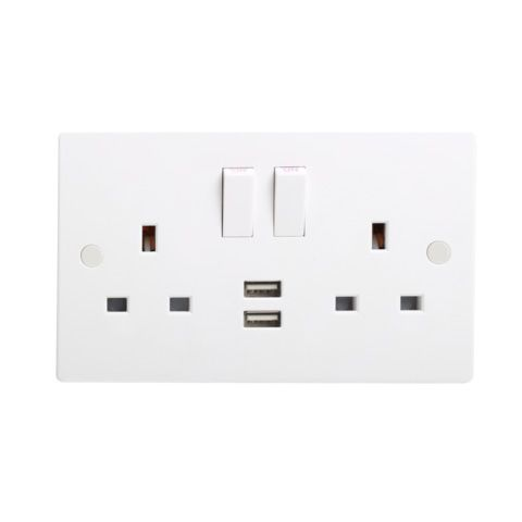 13A DP Twin Switched Socket with Dual USB Charger