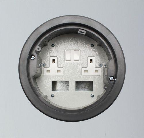 169mm Twin Switched Socket & Data Floor Power Grommet (Grey)