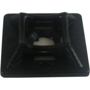 4 Way Self Adhesive Black Cable Tie Base 21x21mm