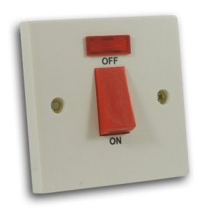 45 Amp 1 Gang DP Cooker Switch c/w Neon Off White