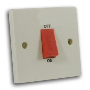 45 Amp 1 Gang DP Cooker Switch Off White