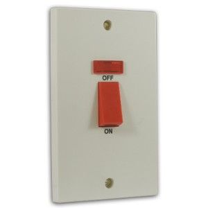 45 Amp 2 Gang DP Tall Cooker Switch c/w Neon Off White