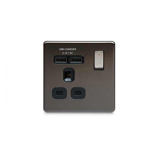 BG Nexus 1 Gang FP Socket c/w USB Black Nickel