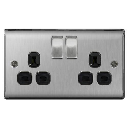 BG Nexus 2 Gang Double Pole Switched Twin Socket Brushed Steel b