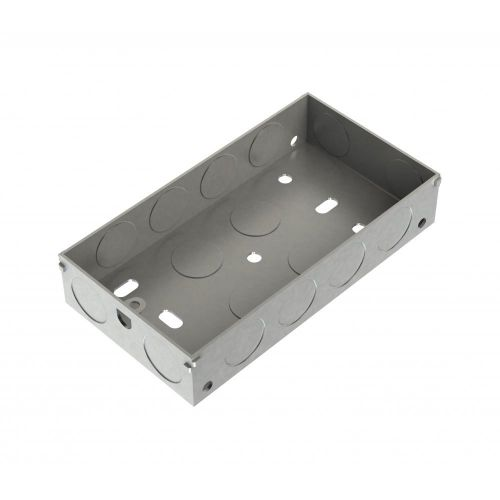 Metpro 25mm 2 Gang Flush Steel Back Box