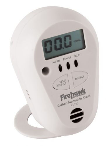Firehawk Battery Operated Carbon Monoxide Alarm LCD Display Lith