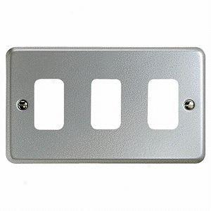 MK Grid Plus 3 Gang Aluminium Surface Grid Plate