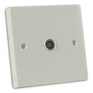 Single Coaxial Non-Isolated TV Socket Off White