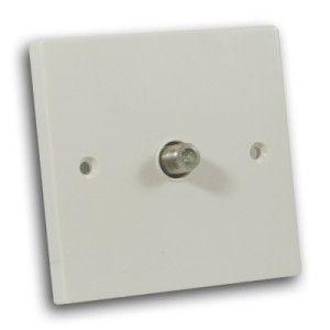 Single Satellite TV Socket Off White