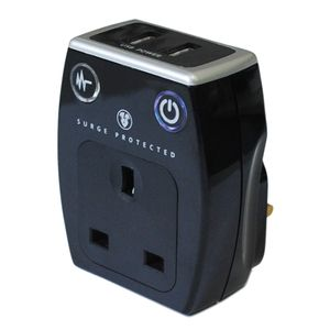 Masterplug Surge Protected Power Socket Adapter (Black) with USB