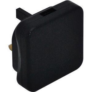 Masterplug Mains Power USB Charging Adapter - Black